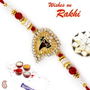 Buy Aapno Rajasthan Ganesha Motif On Beetel Leaf Base Rakhi - Rj17266 online