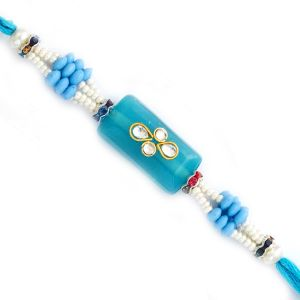 Buy Rakhi For Uae- Aapno Rajasthan Rectangular Blue Base Kundan Studded Rakhi - Uae_rj17308 online