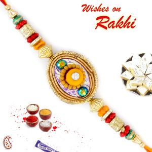 Buy Aapno Rajasthan Yellow Floral Shape Multicolor Beads Studded Rakhi - Rj17344 online