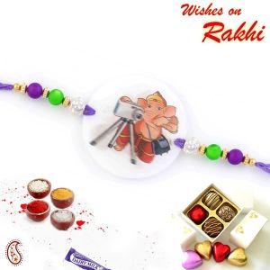 Buy Aapno Rajasthan Multicolor Beads & Photographer Ganesh Motif Kids Rakhi - Rk17782 online