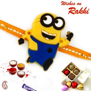 Buy Aapno Rajasthan Charming Yellow Minion Kids Rakhi - Rk17820 online