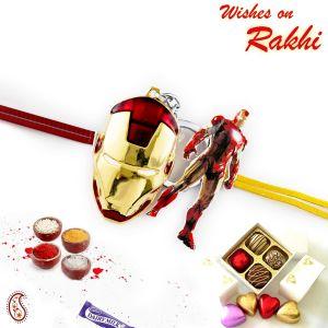 Buy Rakhi For Abroad_aapno Rajasthan Red & Golden Mask Motif Kids Rakhi - Int_rk17852 online