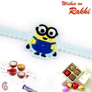 Buy Rakhi For Abroad_aapno Rajasthan Cartoon Motif Sky Blue Wrist Band Kids Rakhi - Int_rk17859 online