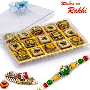 Buy Rakhi For Uae - Premium Pista Delight & Mix Dryfruit Sweets With Free 1 Rakhi - Uae_rm1772 online