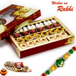 Buy Rakhi For Usa- Aapno Rajasthan Premium Assorted Colorful Sweets With Free 1 Rakhi - Us_rm1787 online