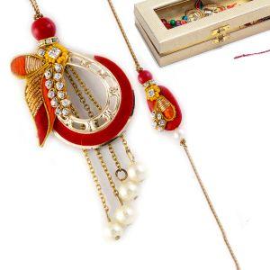 Buy Rakhi For Uae- Aapno Rajasthan Pearl & Ad Studded Red & Yellow Bhaiya Bhabhi Rakhi Set - Uae_rp17872 online