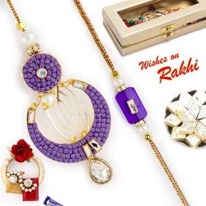 Buy Aapno Rajasthan Purple Beads Embellished Bhaiya Bhabhi Rakhi Set - Rp17920 online