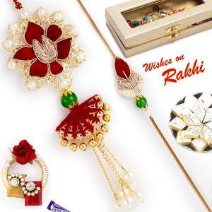 Buy Rakhi For Abroad_aapno Rajasthan Maroon & Golden Zardosi Work Bhaiya Bhabhi Rakhi Set - Int_rp17921 online
