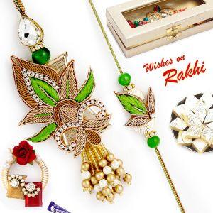 Buy Aapno Rajasthan Green & Gold Rich Zardosi Work Bhaiya Bhabhi Rakhi Set - Rp17922 online
