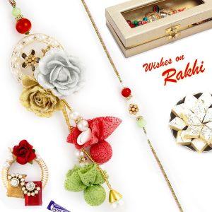 Buy Aapno Rajasthan Rose Motif Ad Studded Bhaiya Bhabhi Rakhi Set - Rp17923 online