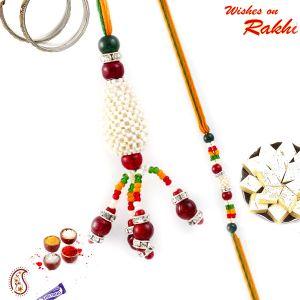 Buy Aapno Rajasthan Beautiful Multicolor Beads Studded Bhaiya Bhabhi Rakhi Set - Rp17951 online
