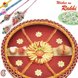 Kalash Thali With Rakhi Set And Sweets