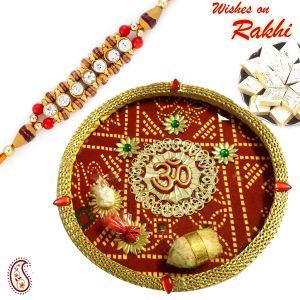 Buy Rakhi For Usa- Aapno Rajasthan Bandhani Print Pooja Thali With Bhaiya Rakhi - Us_rth17101sng Only Rakhi online