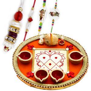 Buy Rakhi For Uae- Aapno Rajasthan Rakhi Pooja Thali With Set Of Bhaiya Bhabhi & Kids Rakhis - Uae_rth1721 online