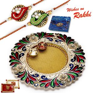 Buy Aapno Rajasthan Contemporary Design Rakhi Pooja Thali With 1 Bhaiya Rakhi online