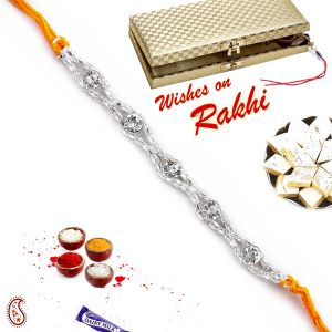 Buy Aapno Rajasthan White Stones And Silver Chain Rakhi - Srl17557 online
