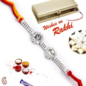 Buy Aapno Rajasthan Twin Ad Studded Beautiful Silver Rakhi - Srl17561 online