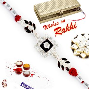 Buy Aapno Rajasthan Ad Studded Leaf Motif Silver Rakhi - Srl17568 online