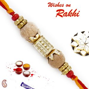 Buy Aapno Rajasthan Dual Sandalwood Rakhi Yellow & Red Thread - Sw17658 online