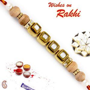 Buy Aapno Rajasthan Kundan Studded Square Motif Sandalwood Rakhi - Sw17684 online