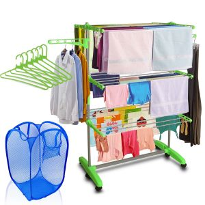 Buy Kawachi Mild Steel With Abs Plastic Laundry Hanger Cloth Drying Stand With Laundry Basket Bag & 6 PCs Hanger Combo online