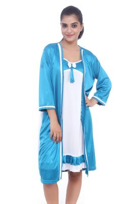 Buy Fasense Women Satin Nihgtwear Sleepwear 2 PCs Short Nighty With Robe Set online