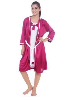 Buy Fasense Women Satin Nihgtwear Sleepwear 2 PC S Nighty With Robe Set online