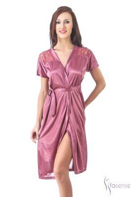 Buy Fasense Women Stylish Satin Nightwear Sleepwear Wrap Gown Dp096 A online