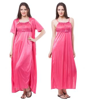 Buy Fasense Women Satin Nightwear Sleepwear 2 PC Set Nighty & Wrap Gown Dp111 B online