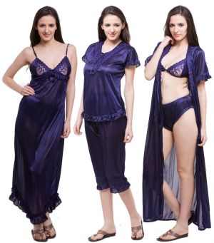 33aa6fe1dfb Buy Fasense Exclusive Women Satin Nightwear Sleepwear 6 PCs Set Of Nighty  Dp116 B online