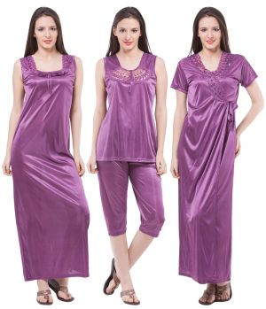 Buy Fasense Exclusive Women Satin Nightwear Sleepwear 4 PCs Set Of Long Nighty online