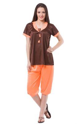 Buy Fasense Exclusive Women Satin Nightwear Sleepwear Top & Capri Set, Dp122 A online