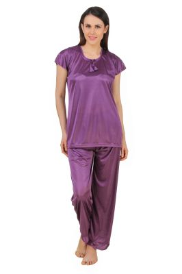 Buy Fasense Women Satin Nightwear Sleepwear Top & Pyjama Set online