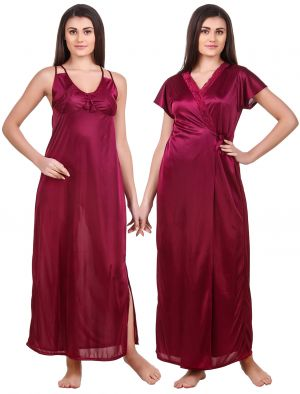 Buy Fasense Women Satin Wine Nightwear 2 PC Set Of Nighty & Wrap Gown Ed008 B online