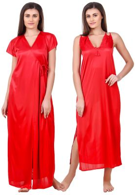 Buy Fasense Women Satin Red Nightwear 2 Pc Set Of Nighty & Wrap Gown online