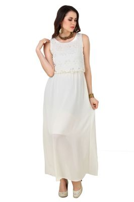 Buy Fasense Women's Solid Round Neck Cream Sexy Evening Dress Fd002 C online