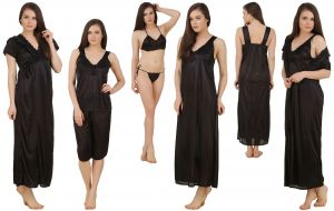 Buy Fasense Women's Satin 6 PCs Nighty, Wrapgown,top & Capry,bra, Thong Gt002 B online