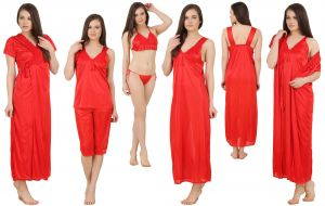 Buy Fasense Women's Satin 6 PCs Nighty, Wrapgown,top & Capry,bra, Thong Gt002 E online