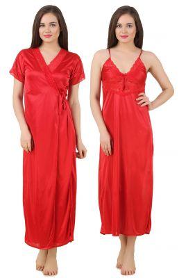 Buy Fasense Women's Satin Nightwear 2 PCs Set Of Nighty& Wrap Gown Gt005 C online