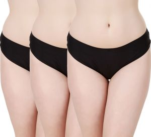 Buy Fasense Women'S Solid Black Set Of 3 Hipster Panties online