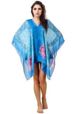 Buy Fasense Floral Printed Blue Multi Beachwear Cover Up Mm003 E online