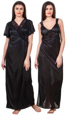 Buy Fasense Women Satin Black Nightwear 2 Pc Set Of Nighty & Wrap Gown online