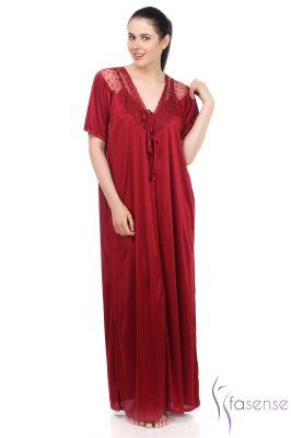 86ac1c353f Buy Fasense Women Maroon Satin 2 PCs Set Nighty   Robe Ss044 A online