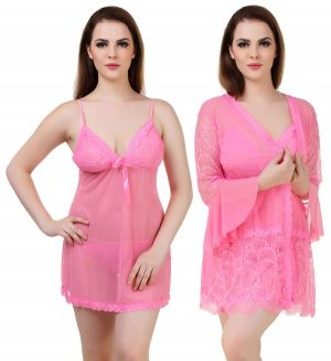 Buy Fasense Women's 2 Pc, Wrap Gown & Babydoll Slip We010 D online