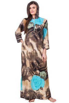Buy Fasense Women Woolen Camel Multi Winter Nightwear Long Nighty Yc005 B online