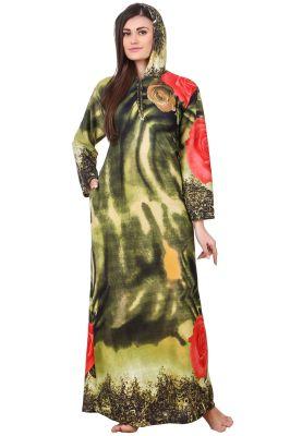 Buy Fasense Women Woolen Green Multi Winter Nightwear Long Nighty Yc005 C online