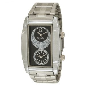 Buy Stylox Black Dial Chain Square Analog Watch - For Men online