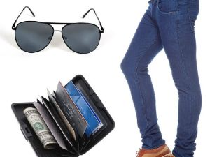Buy Stylox Dark Blue Denim With Sunglass And Credit Card Holder online