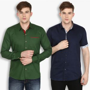 Buy Stylox Mens Cotton Olive Green-navy Blue Casual Shirt (pack Of 2) (code - Sht-2cmbo-025-31) online