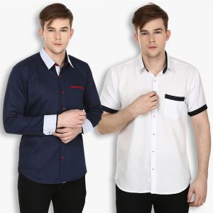Buy Stylox Mens Cotton Navy Blue-white Casual Shirt (pack Of 2) (code - Sht-2cmbo-027-33) online
